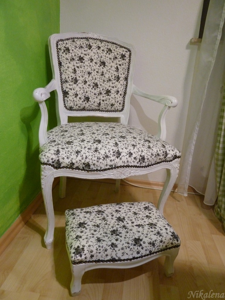 shabby chic stuhl und schemel nikalena. Black Bedroom Furniture Sets. Home Design Ideas